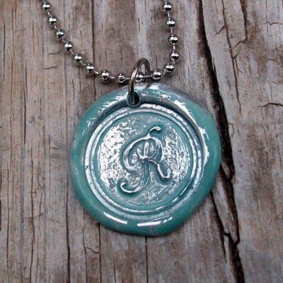 Personalized Wax Seal Initial Necklace In Jade
