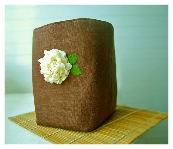 box brown linen Ivory Cream Hydrangea flower Box Felt Recycled Chocolate Linen Fabric Organizer Storage Basket   Handmade elitett tagt team