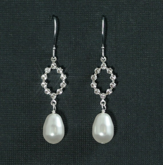 Reserved for beatyea -- Claire Bridal Earrings II -- Silver, Swarovski Crystal Rhinestone and Pearl Dangles