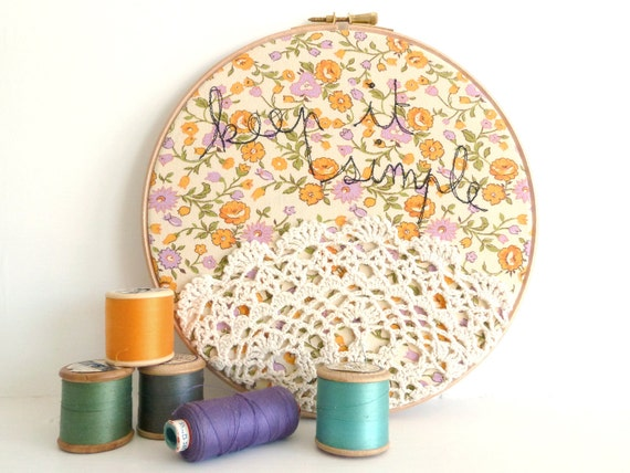 "Doily Wall Art Embroidery Hoop - 'Keep it simple' in yellow and purple - 8"" hoop"