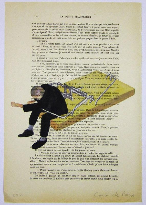 """Пойманный в ловушку человека оригинальные произведения искусства ручной росписью Смещаная 'La Petit Иллюстрация """"1920 известный журнал Parisien Коко De Paris"""