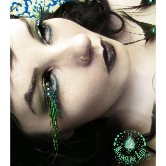A'Flutter - Exotic Green Peacock Feather Eyelashes w/ Swarovski Crystals - By Moonshine Baby