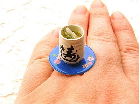 Blue Flower Plate Green Tea Ring