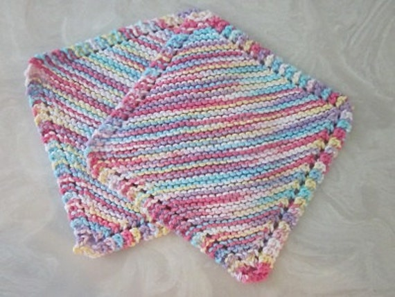 Eco Cotton Knit Dishcloths Two Pink Yellow Aqua Taffy