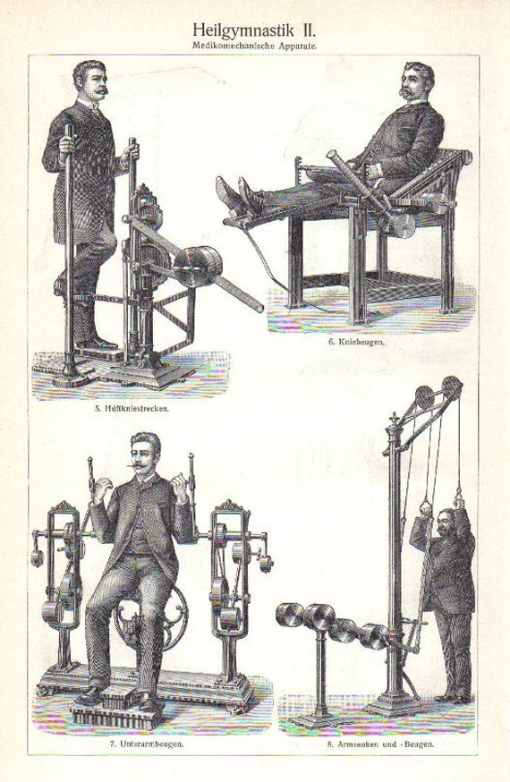 1904 Gustav Zander's Mechanotherapy, Early Gym Equipments Original Antique Engraving