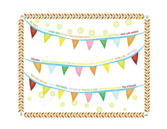 Printable  Wall Art- Colorful Pennants- 'Be Happy'