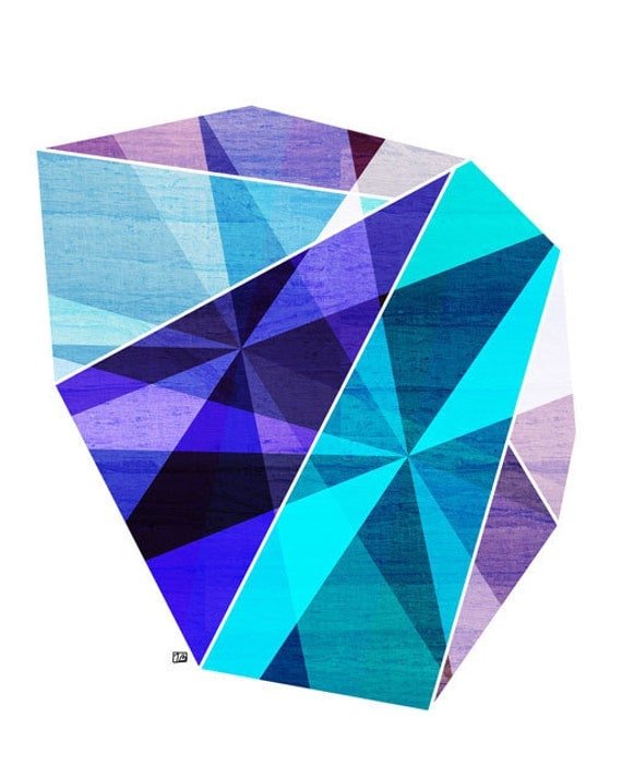 Aquamarine (Geometric Facet), 8X10 Art Print