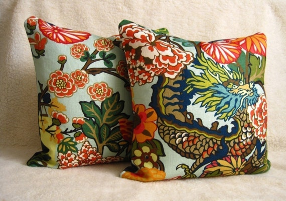 Chiang Mai Dragon Pillows - F. Schumacher - Pair of 18 inch - Aquamarine - Zipper Enclosure - Designer Fabric - Chinoiserie