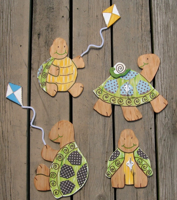 Turtle Wall Hooks - Wood - Nursery Room Decor