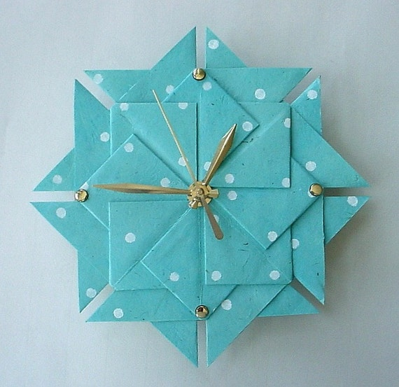 Clock Aqua Polka Dot Origami-Large