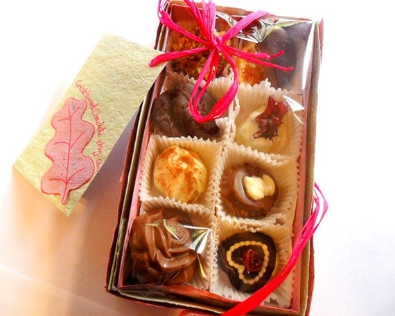 Box of 8 chocolates. Truffles. Gift. Assortment. Variety. Soft Centres. Gourmet Chocolates by CricklewoodChocolate on Etsy.