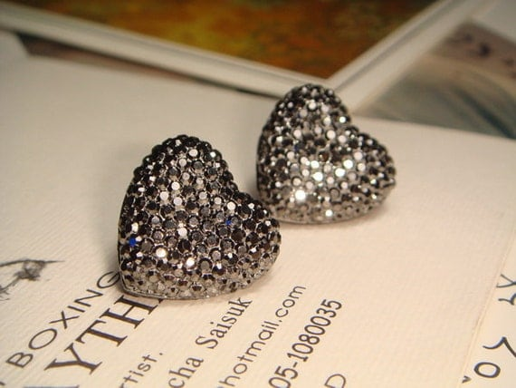 Glitter Series - Metallic Gray Heart Earrings (E189)