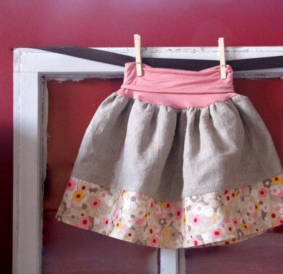 sophie's knit top skirt - flower garden and natural linen