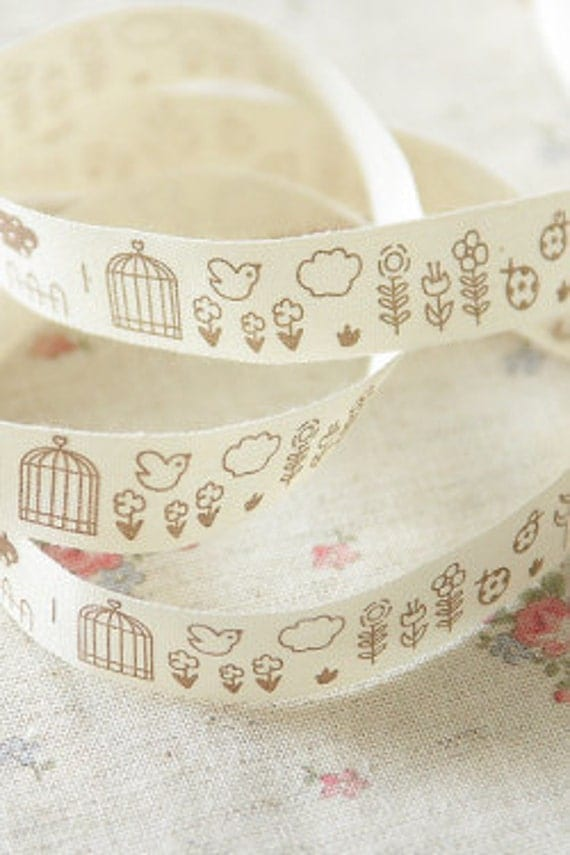 Cotton Ribbon - Bird Flower (1 yard)
