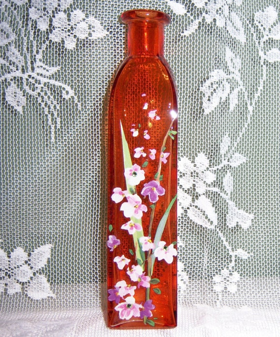 Orange glass bud vase - pink and purple floral with green swarovski crystals