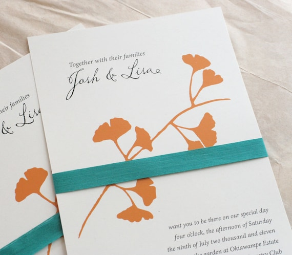Ginkgo Wedding Invitation tangerine orange and teal Screen printed