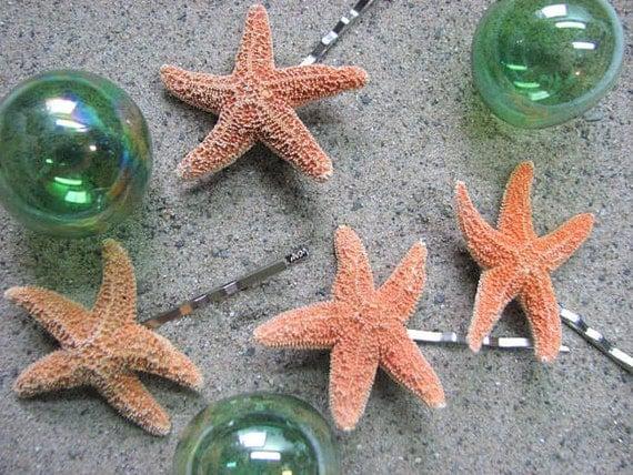 Морская звезда заколки для волос - Морская звезда заколками для свадебных Бич или Пром, набор из 4