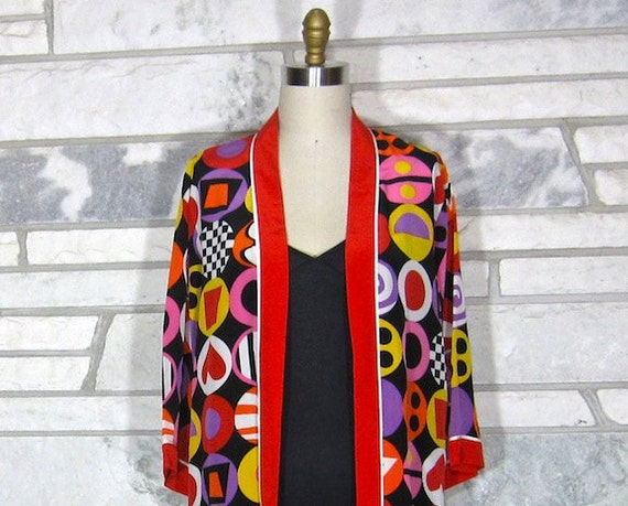 Vintage 80s Bob Mackie Jacket, Wearable Art, Silk, Bold Geometric Print, Circles, Medium, Multicolored, Open Front