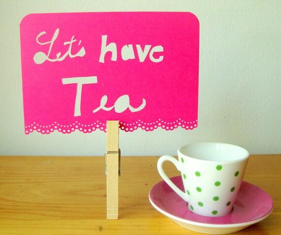 Papercut Postcard Tea Invitation Honeysuckle Pink