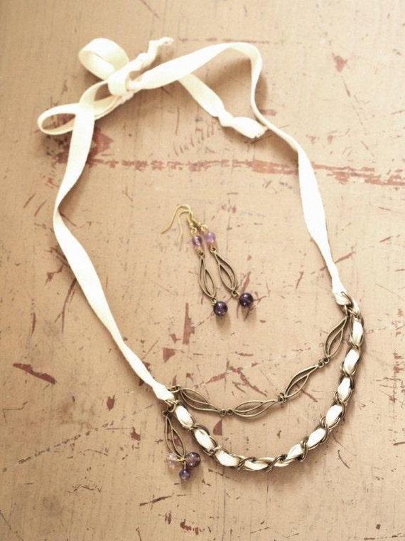 Antique Bronze Leaf Necklace & Earring Set