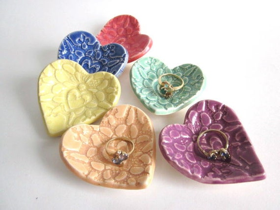 20 Wedding favors, bridal shower favors, Heart Ring Tray/dish, or birthday parties favors. ceramic pottery (w)