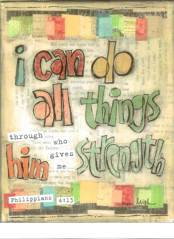 Scripture Art, I can do all things (Philippians 4:13), 8 x 10 Fine Art Print