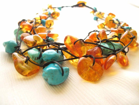 Honey  Natural Baltic Amber  Turquoise Howlite  Necklace