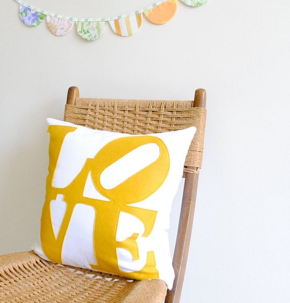 LOVE pillow cover etsy handmade