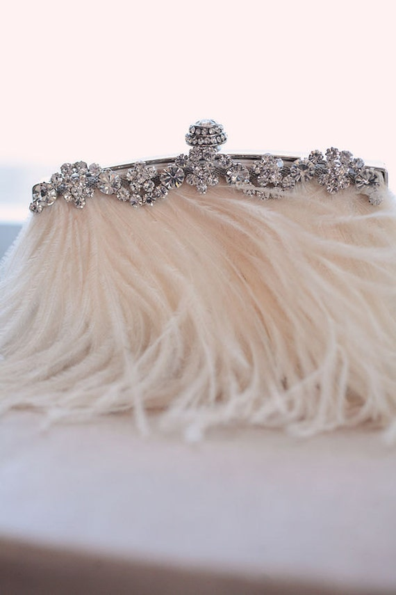Cream STARLET Feather and Rhinestone Bridal Clutch Purse