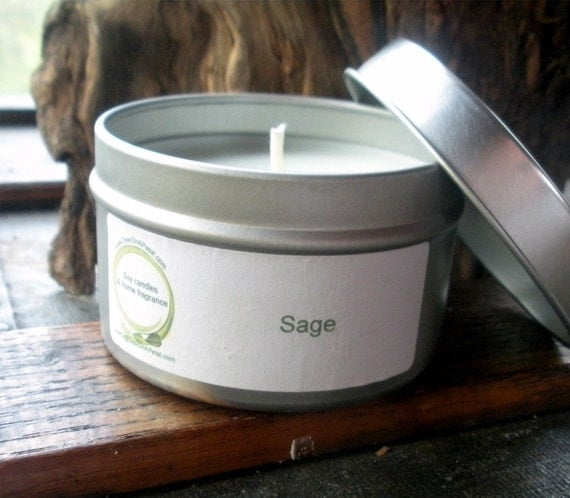 Sage Herbal Soy Candle, Travel Tin 6 oz