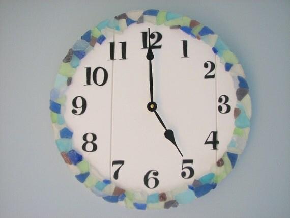 Пляж Декор Часы - Часы море стекла - Пляж стекло часов, 14 в