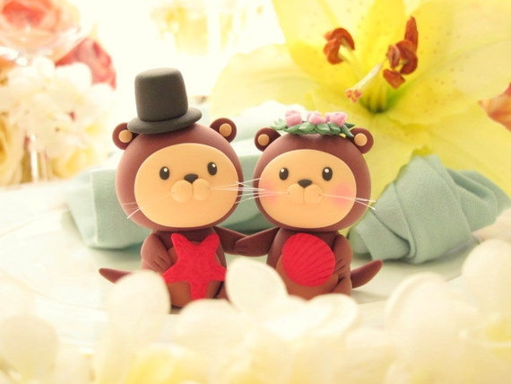 LOVE ANGELS Wedding Cake Topper- love otter
