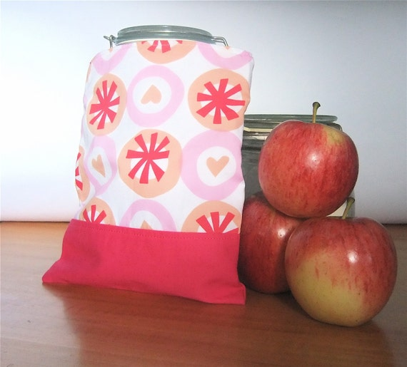 Reusable  Snack Bag Sandwich Cloth - Summer Love Hearts eco friendly by BonTonsGifts on Etsy