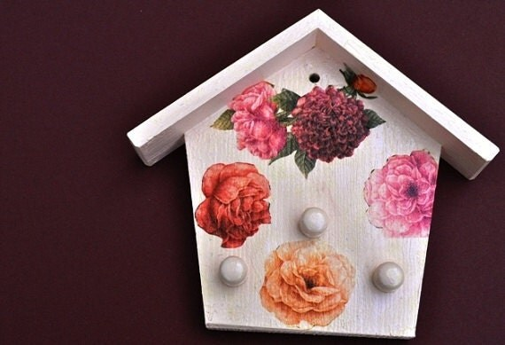 Decoupage  Wooden Key Holder for your wall with flower design