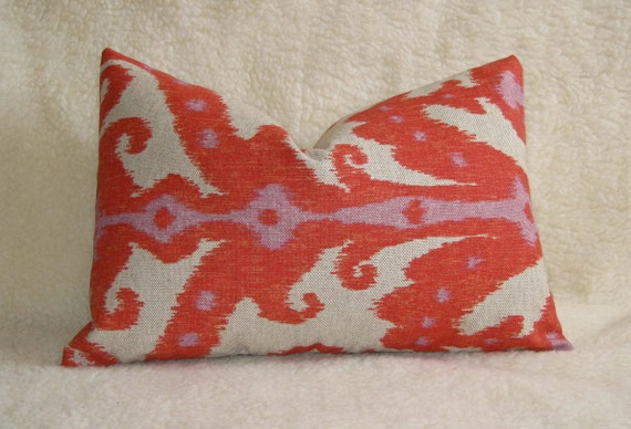 Ikat Decorative Pillow - Red Orange Coral Linen - 12x18 inch - Zipper Enclosure - Accent Pillow - Designer Pillow - Lumbar Pillow