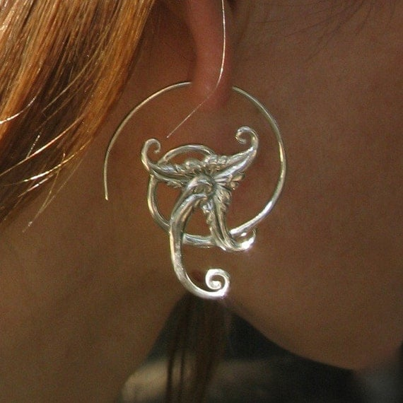 Swirl Flower Silver Earrings