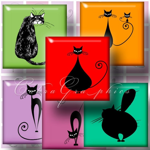 Cats - 1x1 tiles - 5 pages (or 2x2 - 15 pages) - Digital Collage Sheet CG-154 for Scrapbooking Pendant Charms Magnets Stickers JPG