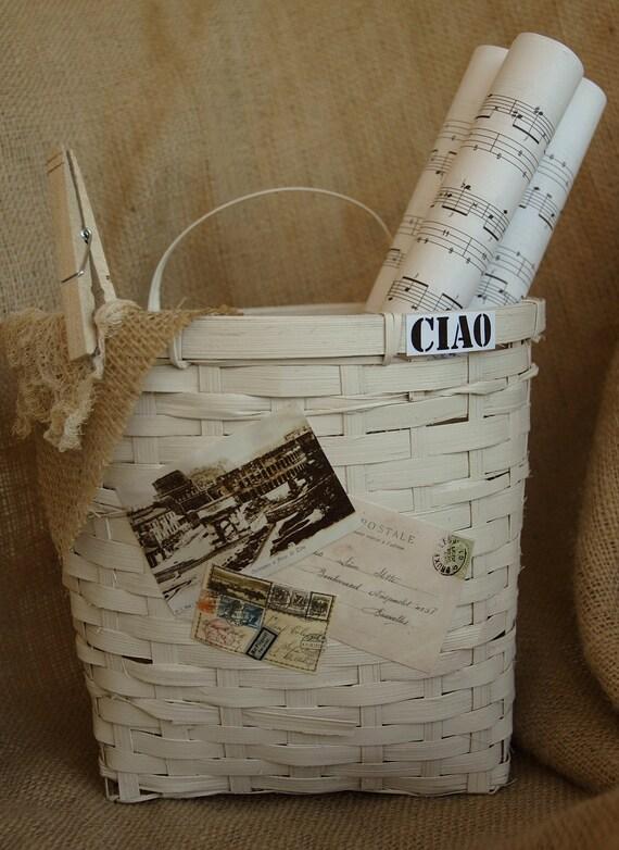 Италии, итальянский, потертый шик корзины, пляжный коттедж декора, потертый шик Декор, итальянский декор