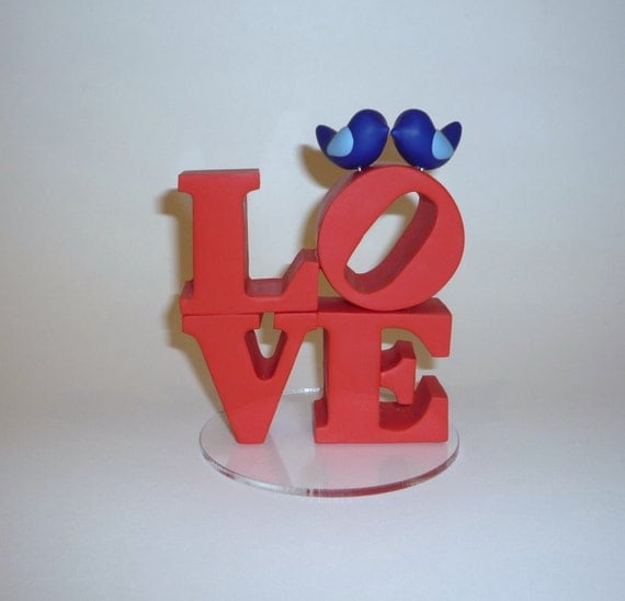 Custom love cake topper with love birds