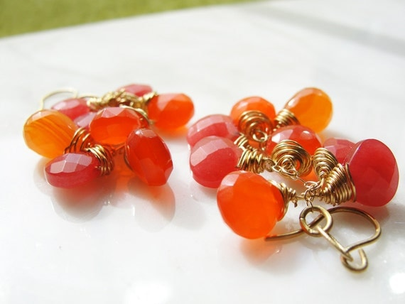 Pink and orange gold earrings