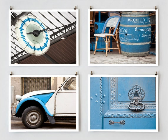 Paris Photography Set, Blue - Fine Art Photograph Prints - Paris Decor - Wall Art - Home Decor - Blue Wall Decor