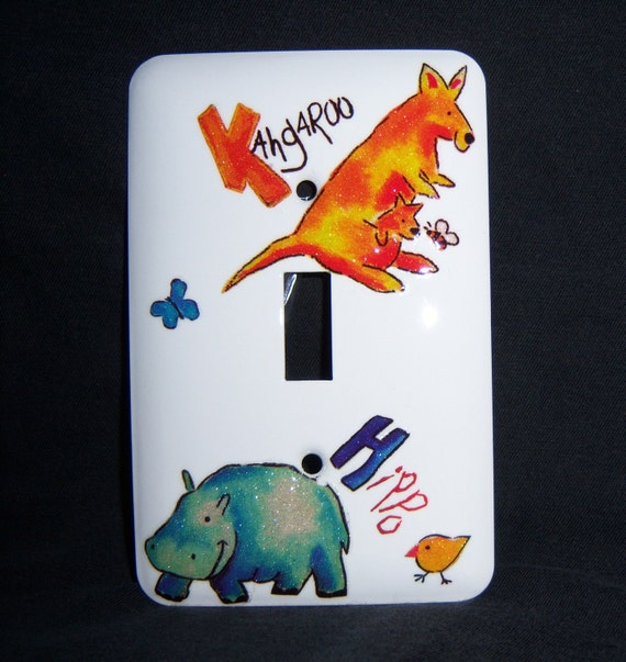 Animal steel single lightswitch cover - glittery