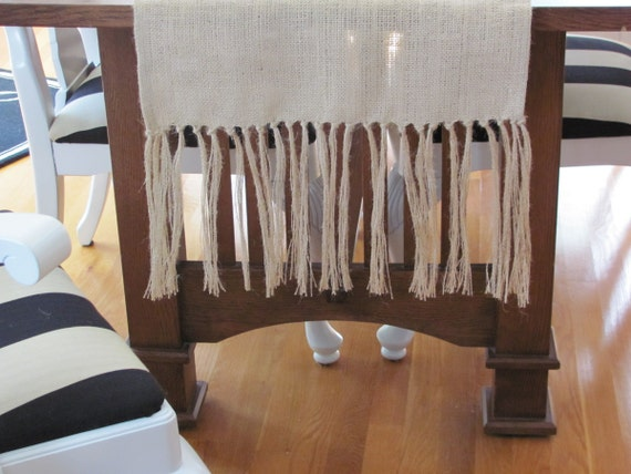 "Burlap Table Runner With Fringe 18""x72"", natural color"