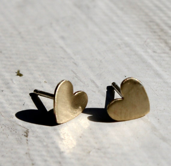 Valentines Day Studs- Tiny Brass Heart Studs with Sterling Silver Posts- Ready to ship