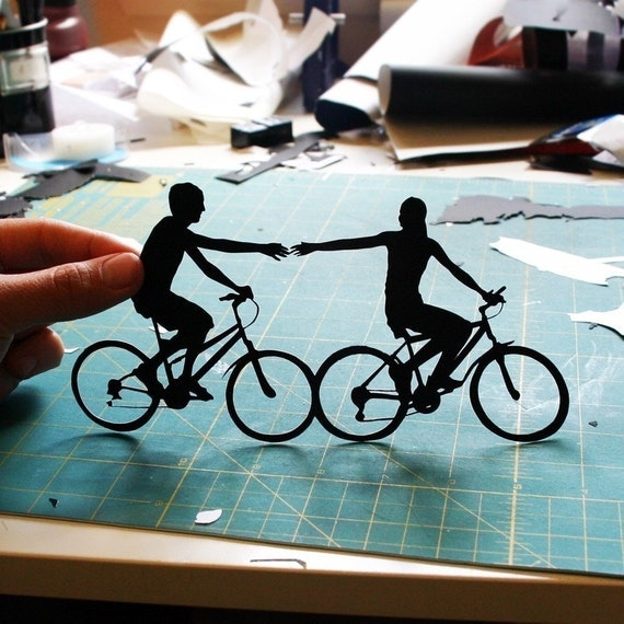 Couple on Bikes - Bicycle Silhouette As Seen in the WALL STREET JOURNAL
