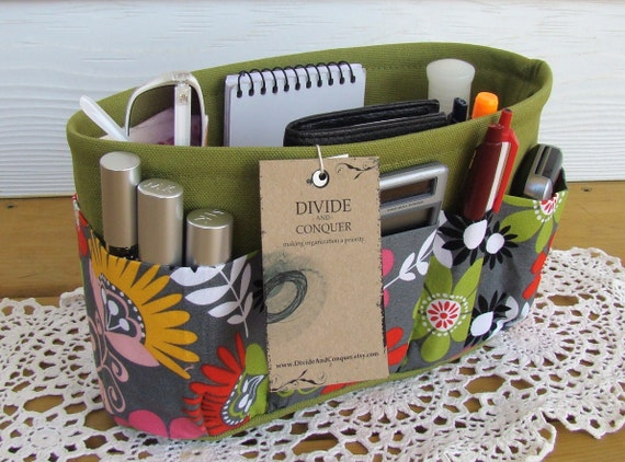 Purse Insert ORGANIZER SHAPER / Cosmo Meadow Floral On Green / STURDY / 5 sizes Available / Check out my shop for more variety