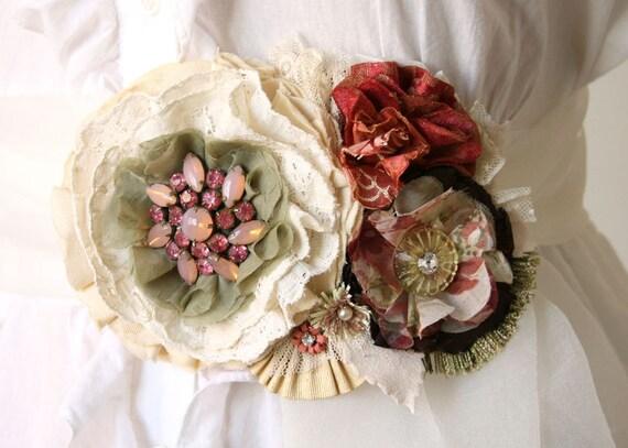 Winter Wedding Floral Sash Belt in Rose Red, Sage Green, Warm White, Cream