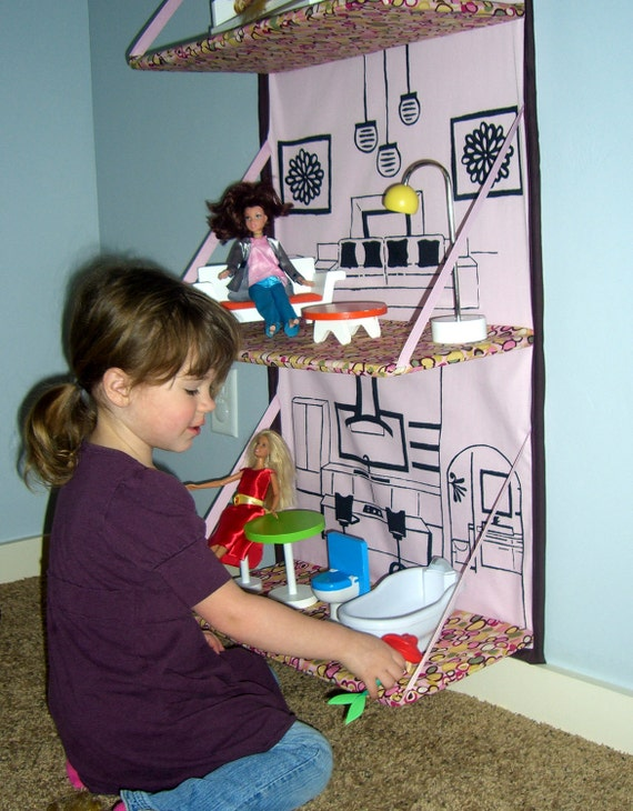 SALE 20% off. Folding fabric Doll House e-pattern. Store away when not using.