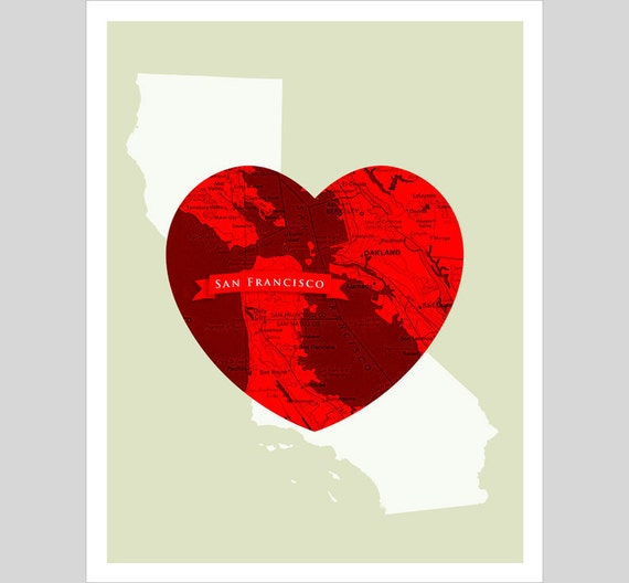City Love - San Francisco Heart - 11x14 print