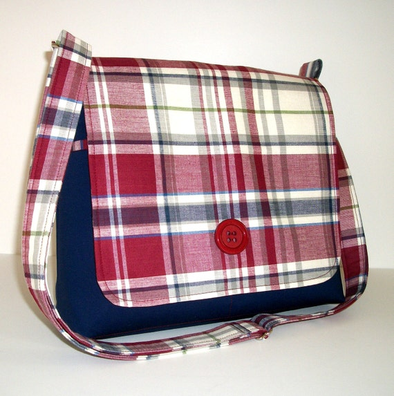 Messenger Bag, Plaid Bag, Maroon and Blue Cotton, Long Adjustable Strap, Medium Size